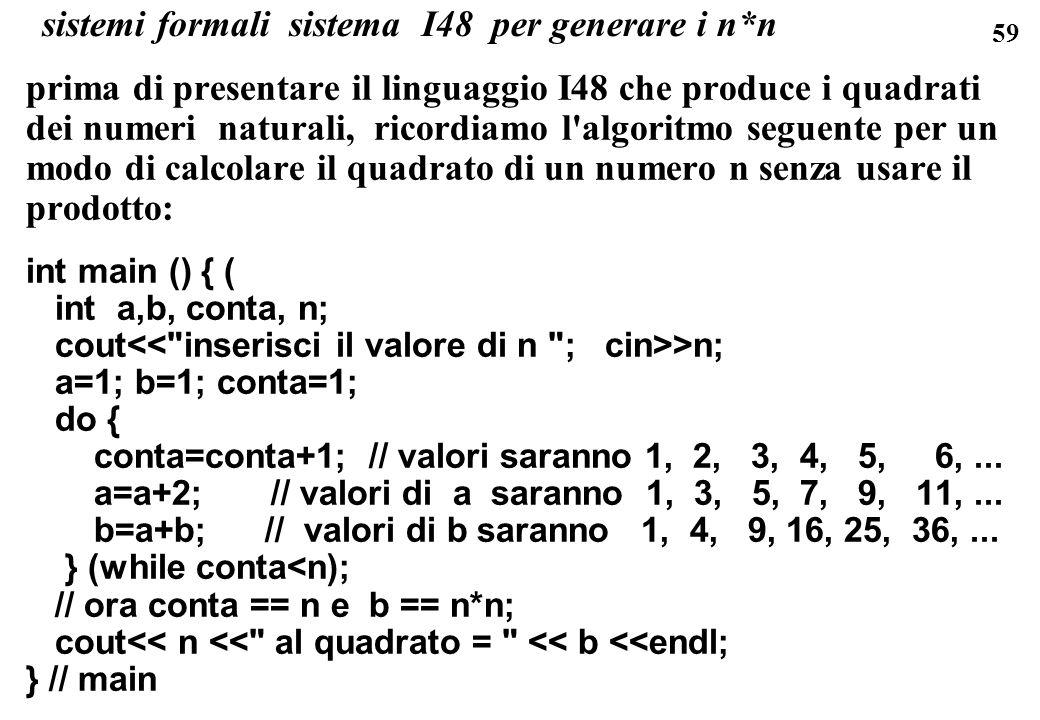 59 sistemi formali sistema I48 per generare i n*n prima di presentare il linguaggio I48 che produce i quadrati dei numeri naturali, ricordiamo l'algor