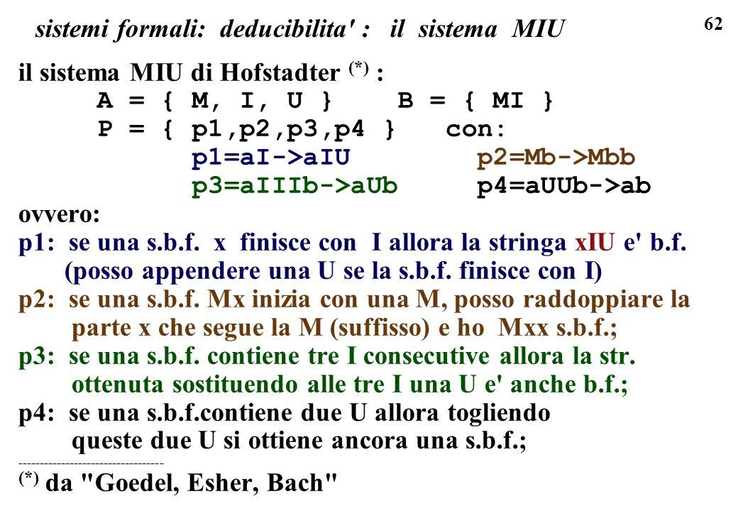 62 sistemi formali: deducibilita' : il sistema MIU il sistema MIU di Hofstadter (*) : A = { M, I, U } B = { MI } P = { p1,p2,p3,p4 } con: p1=aI->aIU p