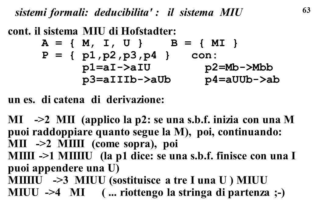 63 sistemi formali: deducibilita' : il sistema MIU cont. il sistema MIU di Hofstadter: A = { M, I, U } B = { MI } P = { p1,p2,p3,p4 } con: p1=aI->aIU
