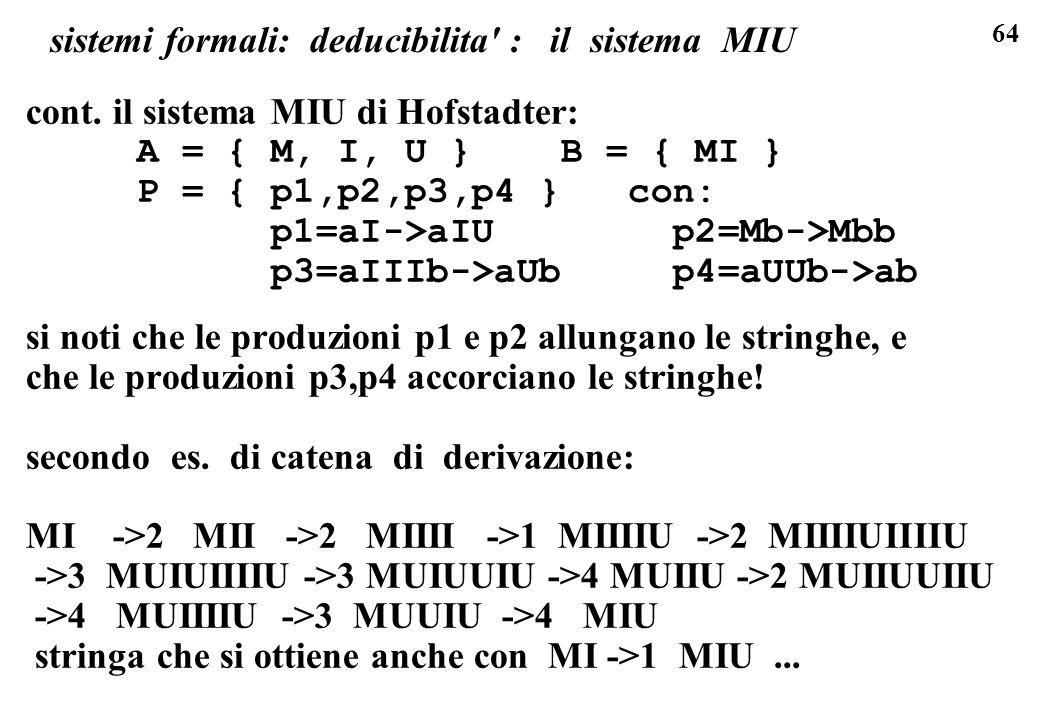 64 sistemi formali: deducibilita' : il sistema MIU cont. il sistema MIU di Hofstadter: A = { M, I, U } B = { MI } P = { p1,p2,p3,p4 } con: p1=aI->aIU