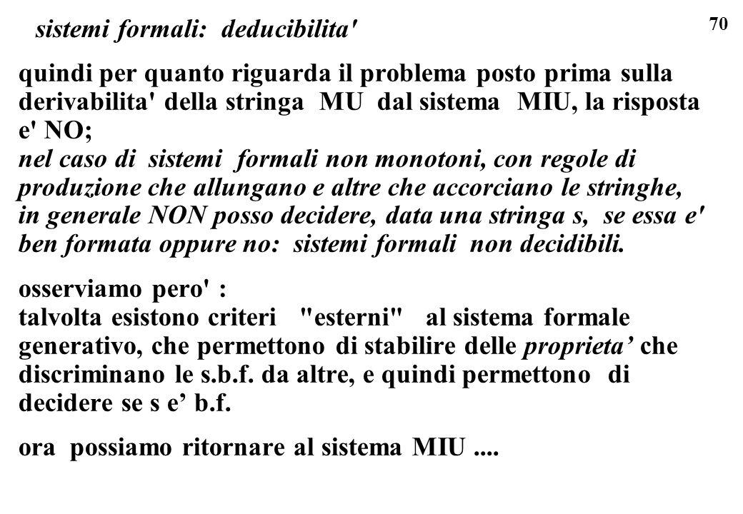 70 sistemi formali: deducibilita' quindi per quanto riguarda il problema posto prima sulla derivabilita' della stringa MU dal sistema MIU, la risposta