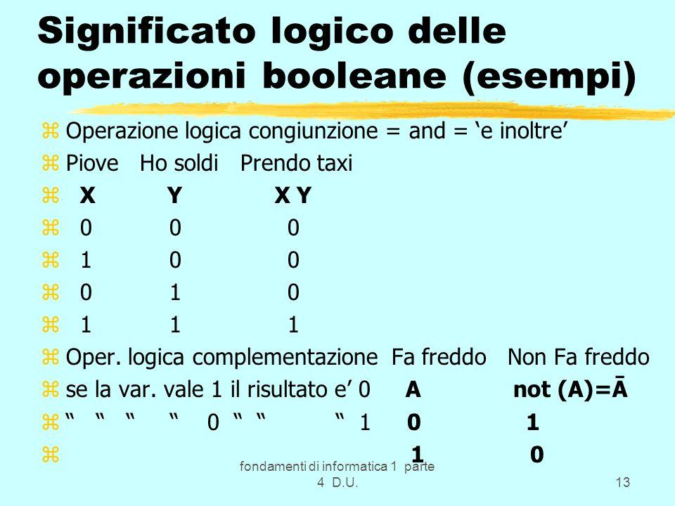 fondamenti di informatica 1 parte 4 D.U.13 Significato logico delle operazioni booleane (esempi) zOperazione logica congiunzione = and = e inoltre zPi