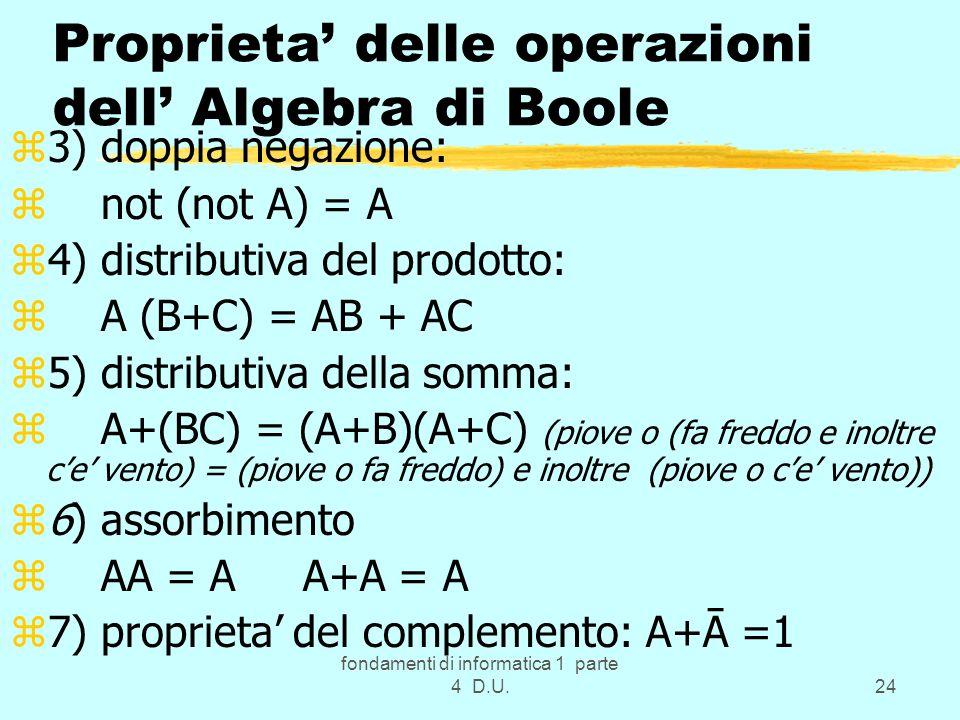 fondamenti di informatica 1 parte 4 D.U.24 Proprieta delle operazioni dell Algebra di Boole z3) doppia negazione: z not (not A) = A z4) distributiva d