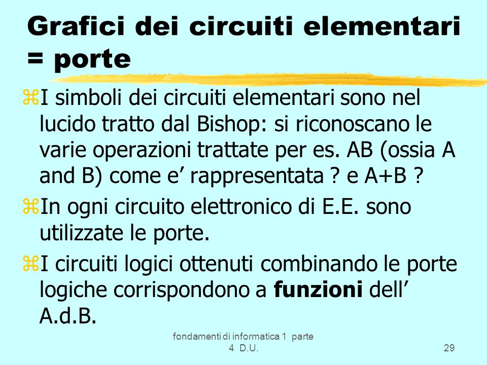 fondamenti di informatica 1 parte 4 D.U.29 Grafici dei circuiti elementari = porte zI simboli dei circuiti elementari sono nel lucido tratto dal Bisho