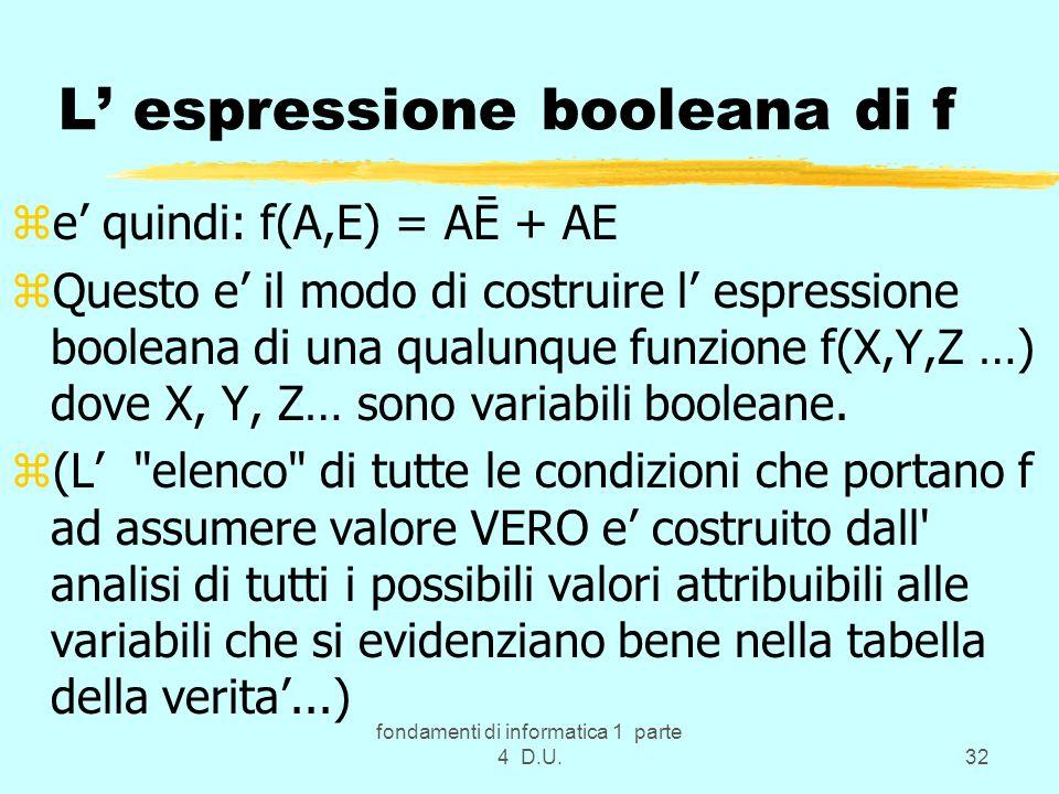 fondamenti di informatica 1 parte 4 D.U.32 L espressione booleana di f ze quindi: f(A,E) = AĒ + AE zQuesto e il modo di costruire l espressione boolea