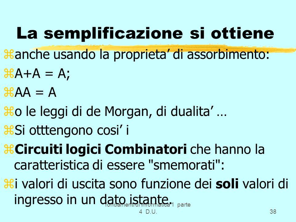 fondamenti di informatica 1 parte 4 D.U.38 La semplificazione si ottiene zanche usando la proprieta di assorbimento: zA+A = A; zAA = A zo le leggi di