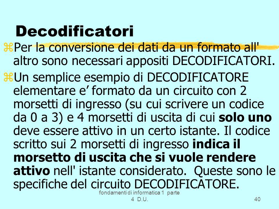 fondamenti di informatica 1 parte 4 D.U.40 Decodificatori zPer la conversione dei dati da un formato all' altro sono necessari appositi DECODIFICATORI