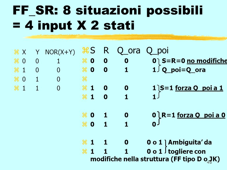 48 FF_SR: 8 situazioni possibili = 4 input X 2 stati zX Y NOR(X+Y) z0 0 1 z1 0 0 z0 1 0 z1 1 0 z S R Q_ora Q_poi z 0 0 0 0 S=R=0 no modifiche z 0 0 1