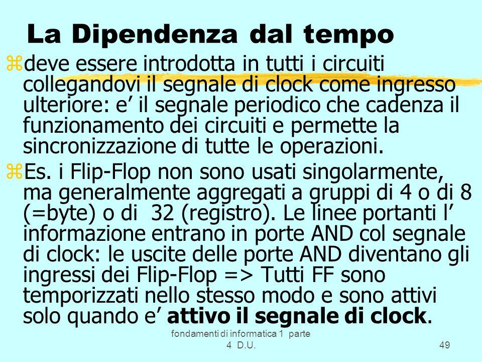 fondamenti di informatica 1 parte 4 D.U.49 La Dipendenza dal tempo zdeve essere introdotta in tutti i circuiti collegandovi il segnale di clock come i