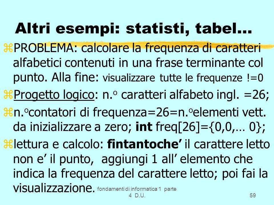 fondamenti di informatica 1 parte 4 D.U.59 Altri esempi: statisti, tabel... zPROBLEMA: calcolare la frequenza di caratteri alfabetici contenuti in una
