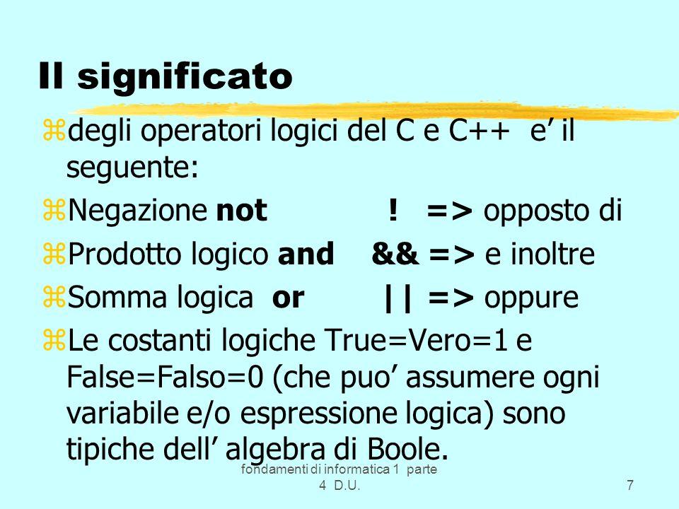 fondamenti di informatica 1 parte 4 D.U.38 La semplificazione si ottiene zanche usando la proprieta di assorbimento: zA+A = A; zAA = A zo le leggi di de Morgan, di dualita … zSi otttengono cosi i zCircuiti logici Combinatori che hanno la caratteristica di essere smemorati : zi valori di uscita sono funzione dei soli valori di ingresso in un dato istante.