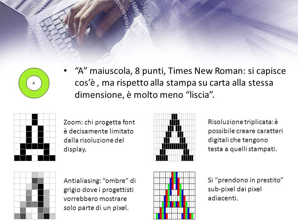 A maiuscola, 8 punti, Times New Roman: si capisce cosè, ma rispetto alla stampa su carta alla stessa dimensione, è molto meno liscia.
