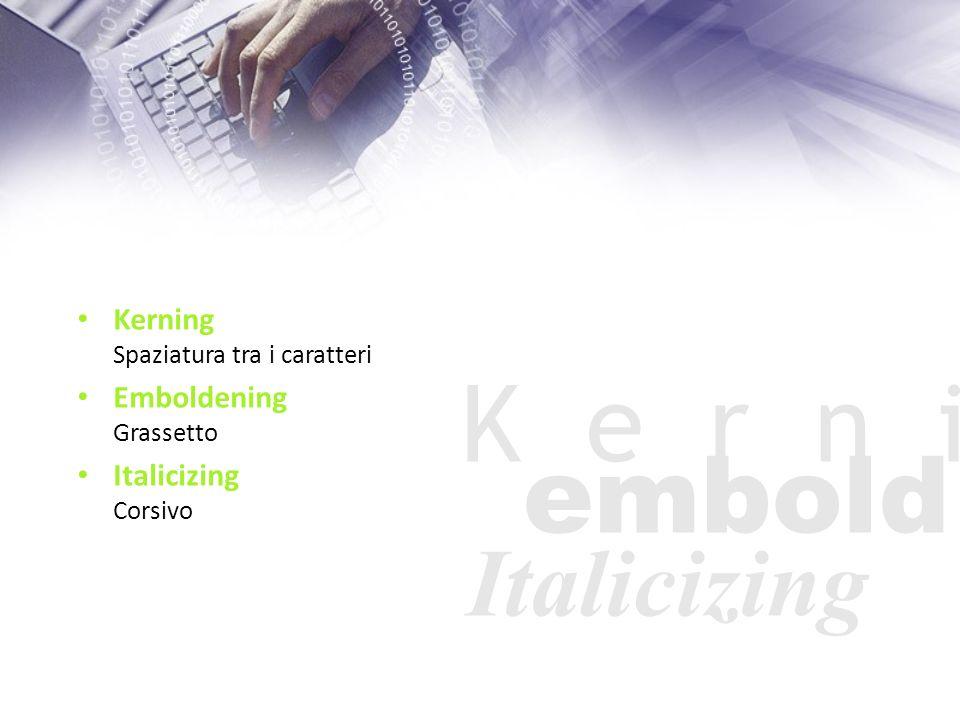 Kerning Spaziatura tra i caratteri Emboldening Grassetto Italicizing Corsivo K e r n i embold Italicizing