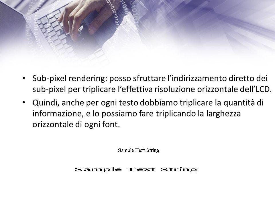 Sub-pixel rendering: posso sfruttare lindirizzamento diretto dei sub-pixel per triplicare leffettiva risoluzione orizzontale dellLCD.
