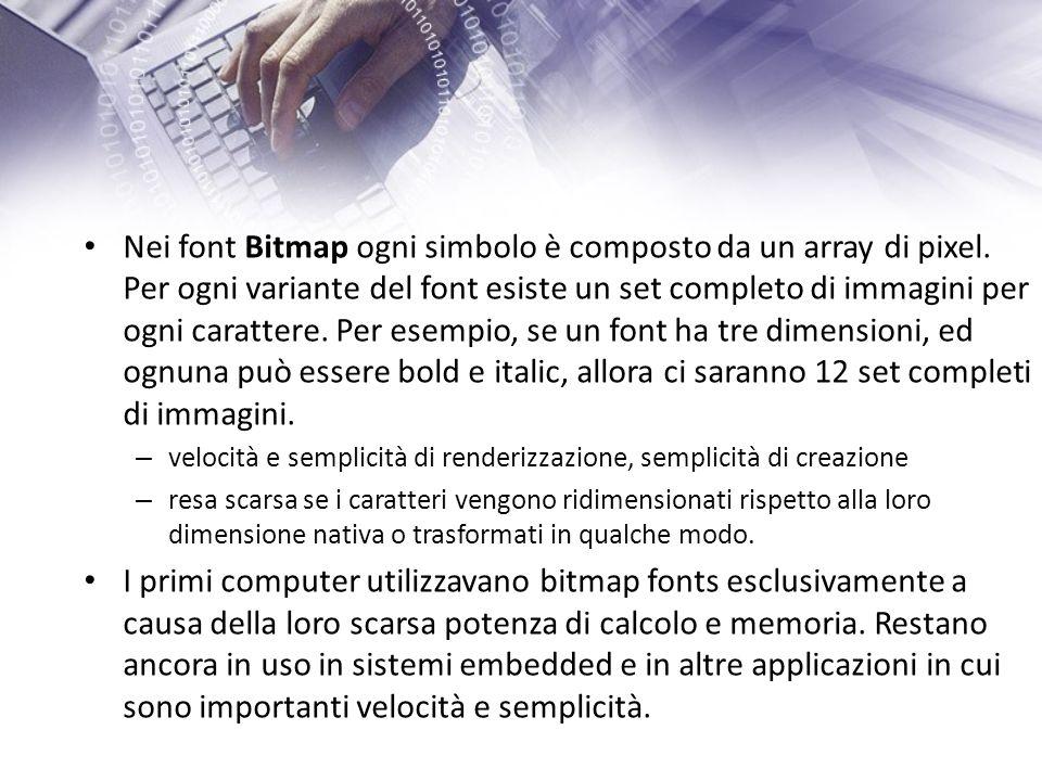 Nei font Bitmap ogni simbolo è composto da un array di pixel.