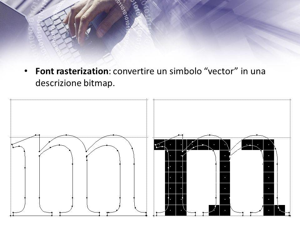 Font rasterization: convertire un simbolo vector in una descrizione bitmap.