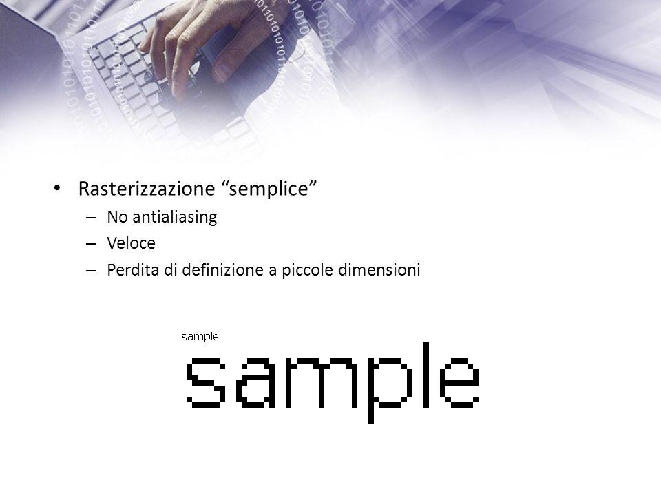 Rasterizzazione semplice – No antialiasing – Veloce – Perdita di definizione a piccole dimensioni