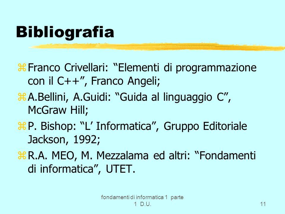 fondamenti di informatica 1 parte 1 D.U.11 Bibliografia zFranco Crivellari: Elementi di programmazione con il C++, Franco Angeli; zA.Bellini, A.Guidi: