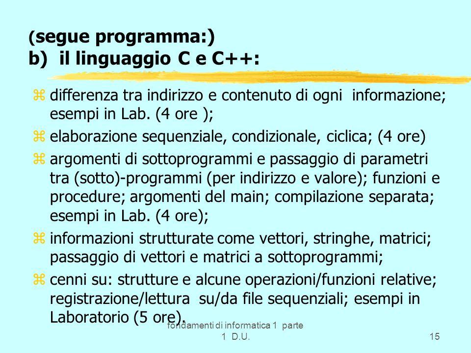 fondamenti di informatica 1 parte 1 D.U.15 ( segue programma:) b) il linguaggio C e C++: zdifferenza tra indirizzo e contenuto di ogni informazione; e