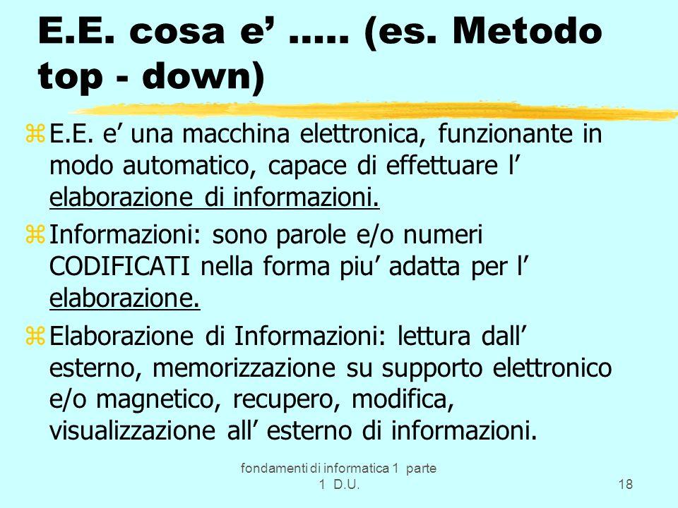 fondamenti di informatica 1 parte 1 D.U.18 E.E. cosa e ….. (es. Metodo top - down) zE.E. e una macchina elettronica, funzionante in modo automatico, c