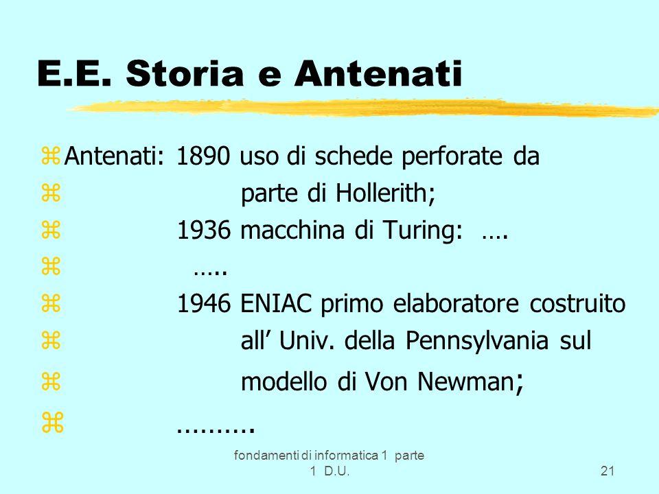 fondamenti di informatica 1 parte 1 D.U.21 E.E. Storia e Antenati zAntenati: 1890 uso di schede perforate da z parte di Hollerith; z 1936 macchina di