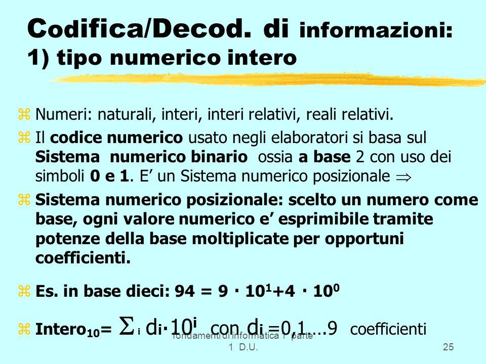 fondamenti di informatica 1 parte 1 D.U.25 C od ifica/Decod. di informazioni: 1) tipo numerico intero zNumeri: naturali, interi, interi relativi, real