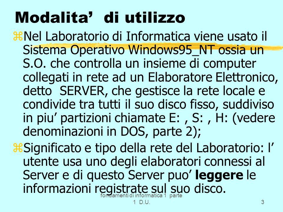 fondamenti di informatica 1 parte 1 D.U.3 Modalita di utilizzo zNel Laboratorio di Informatica viene usato il Sistema Operativo Windows95_NT ossia un