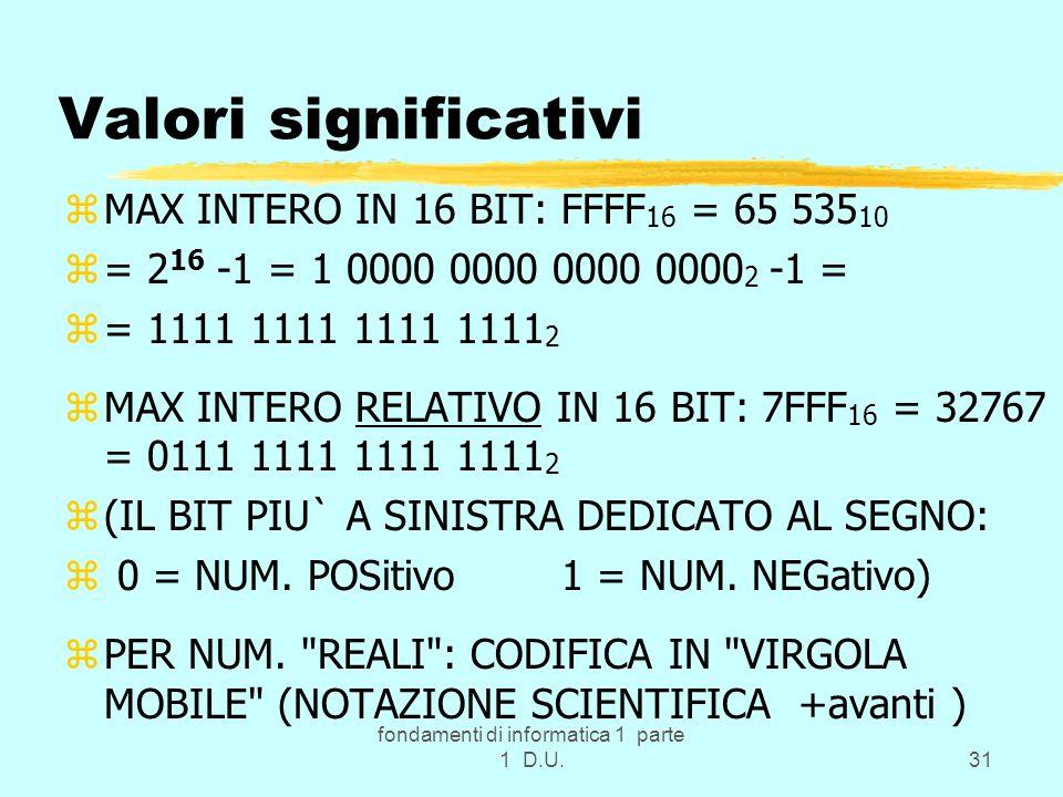 fondamenti di informatica 1 parte 1 D.U.31 Valori significativi zMAX INTERO IN 16 BIT: FFFF 16 = 65 535 10 z= 2 16 -1 = 1 0000 0000 0000 0000 2 -1 = z