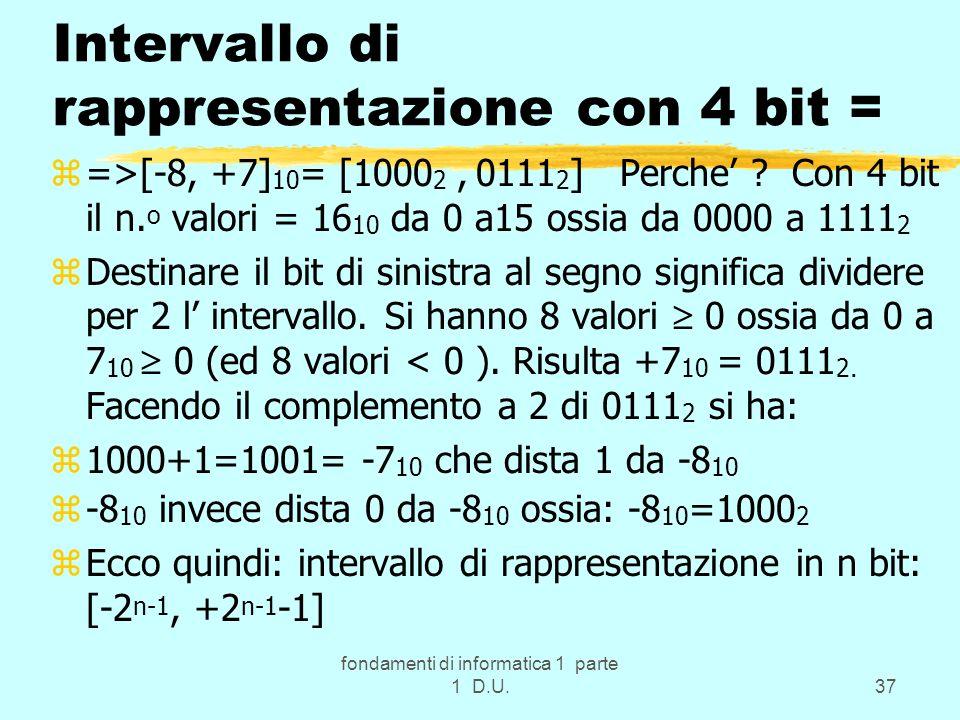 fondamenti di informatica 1 parte 1 D.U.37 Intervallo di rappresentazione con 4 bit = z=>[-8, +7] 10 = [1000 2, 0111 2 ] Perche ? Con 4 bit il n. o va