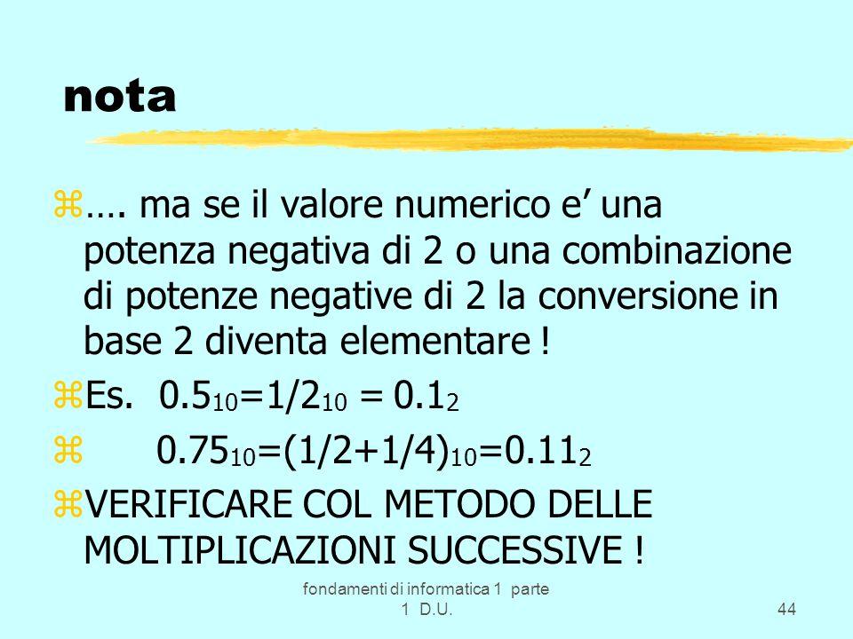 fondamenti di informatica 1 parte 1 D.U.44 nota z…. ma se il valore numerico e una potenza negativa di 2 o una combinazione di potenze negative di 2 l