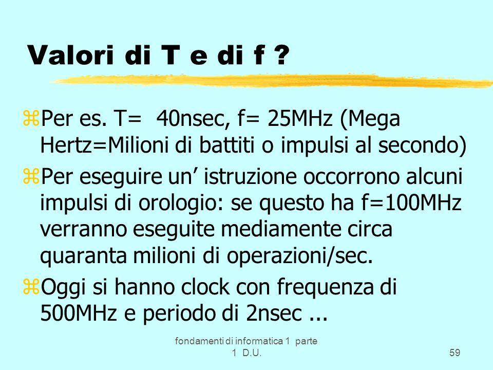 fondamenti di informatica 1 parte 1 D.U.59 Valori di T e di f ? zPer es. T= 40nsec, f= 25MHz (Mega Hertz=Milioni di battiti o impulsi al secondo) zPer