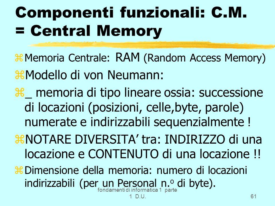 fondamenti di informatica 1 parte 1 D.U.61 Componenti funzionali: C.M. = Central Memory zMemoria Centrale: RAM (Random Access Memory) zModello di von