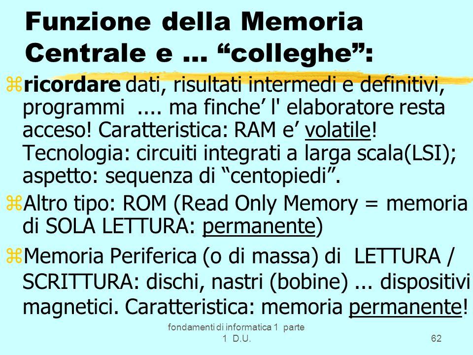 fondamenti di informatica 1 parte 1 D.U.62 Funzione della Memoria Centrale e … colleghe: zricordare dati, risultati intermedi e definitivi, programmi.
