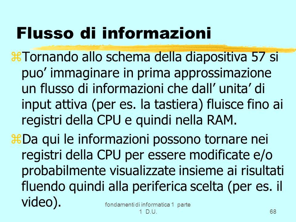 fondamenti di informatica 1 parte 1 D.U.68 Flusso di informazioni zTornando allo schema della diapositiva 57 si puo immaginare in prima approssimazion