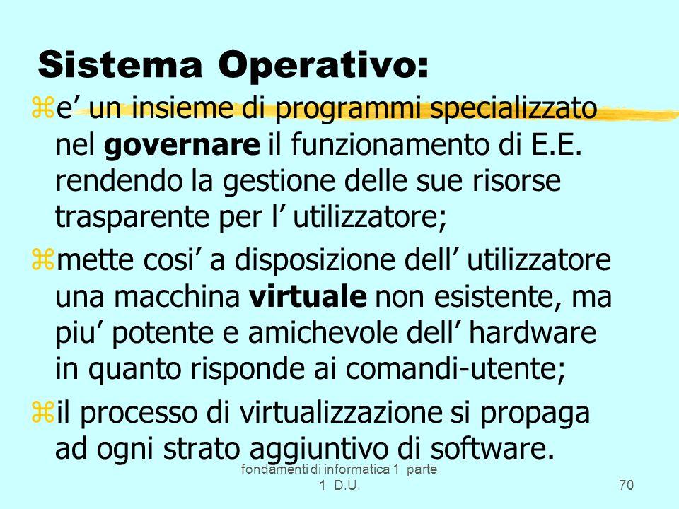 fondamenti di informatica 1 parte 1 D.U.70 Sistema Operativo: ze un insieme di programmi specializzato nel governare il funzionamento di E.E. rendendo