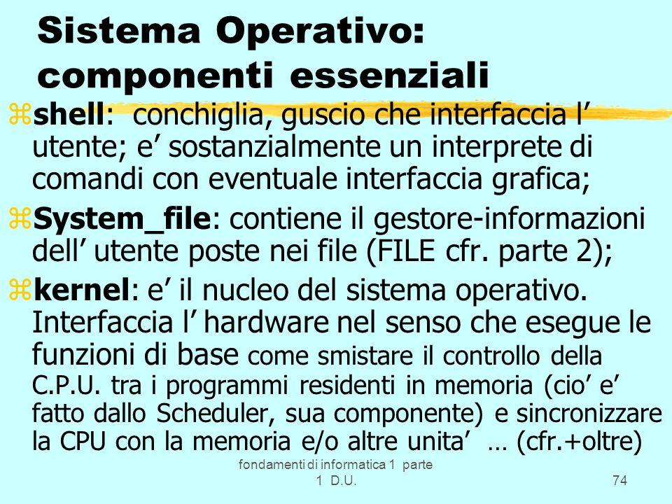 fondamenti di informatica 1 parte 1 D.U.74 Sistema Operativo: componenti essenziali zshell: conchiglia, guscio che interfaccia l utente; e sostanzialm