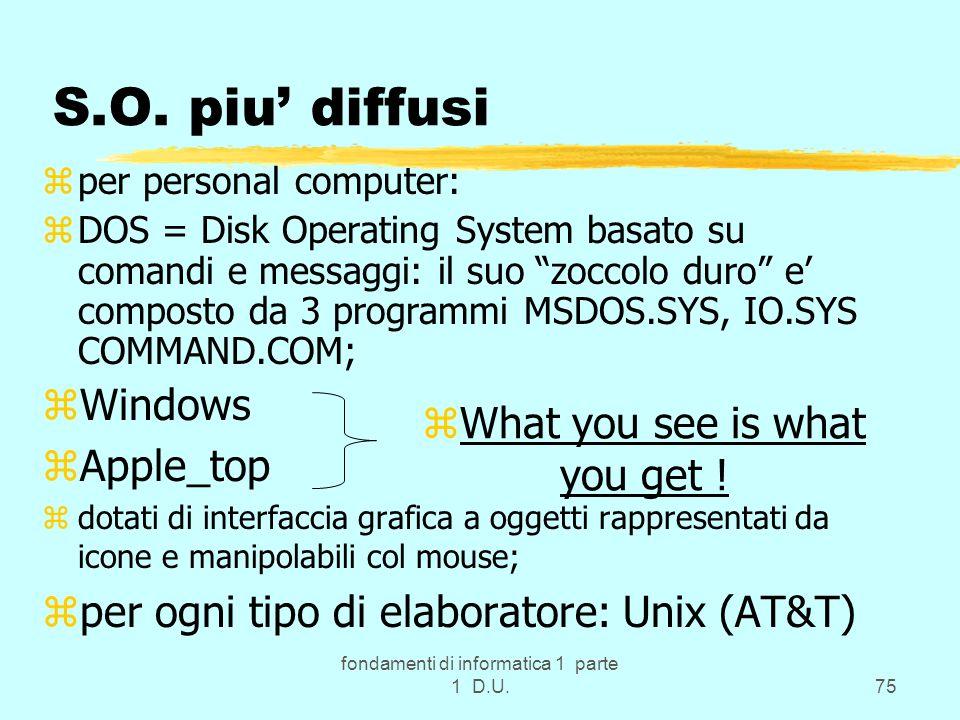 fondamenti di informatica 1 parte 1 D.U.75 S.O. piu diffusi zper personal computer: zDOS = Disk Operating System basato su comandi e messaggi: il suo
