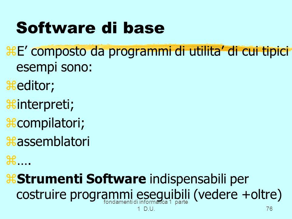 fondamenti di informatica 1 parte 1 D.U.76 Software di base zE composto da programmi di utilita di cui tipici esempi sono: zeditor; zinterpreti; zcomp