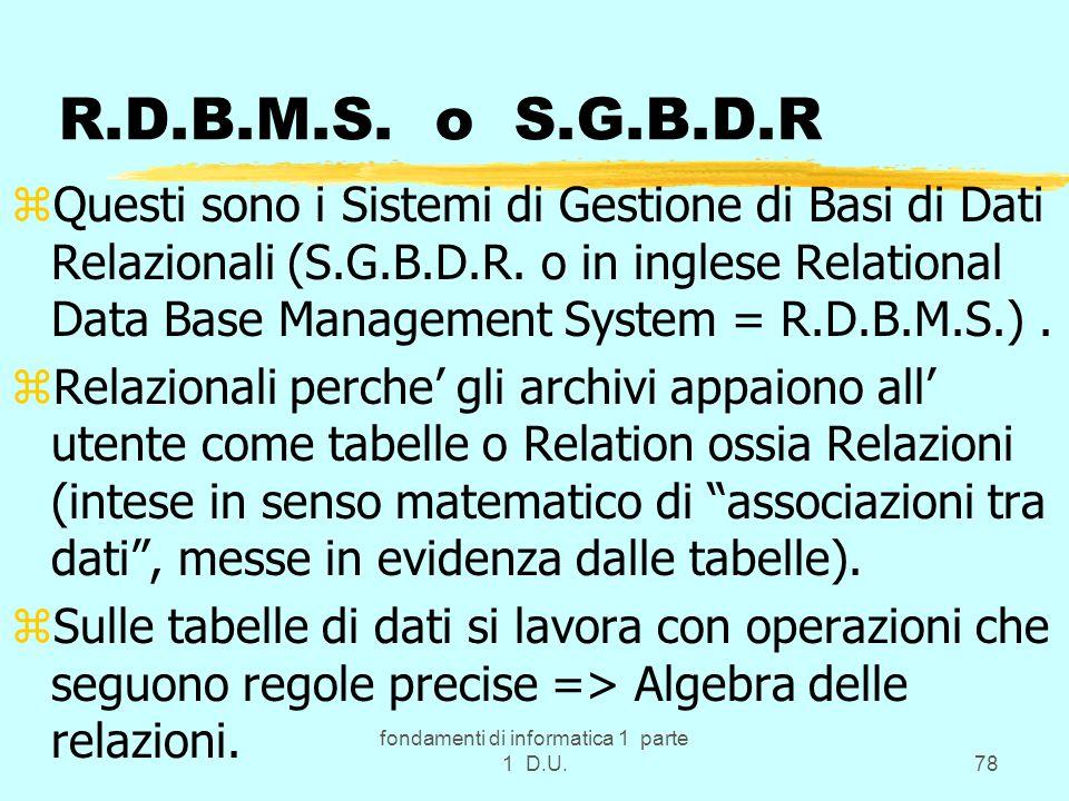 fondamenti di informatica 1 parte 1 D.U.78 R.D.B.M.S. o S.G.B.D.R zQuesti sono i Sistemi di Gestione di Basi di Dati Relazionali (S.G.B.D.R. o in ingl