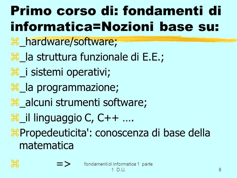 fondamenti di informatica 1 parte 1 D.U.49 Codifiche: conclusioni zInformazione => successione di caratteri alfanumerici z => successione di bit z => interpretabile a livelli Hard/Soft.