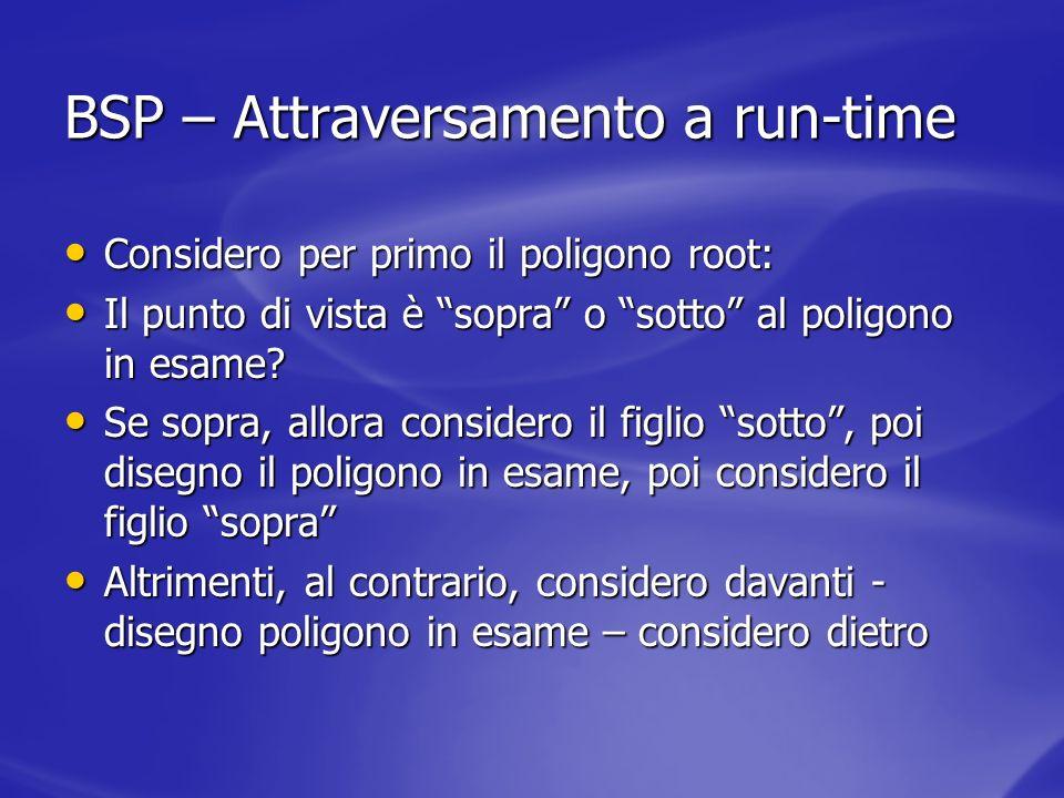 BSP – Attraversamento a run-time Considero per primo il poligono root: Considero per primo il poligono root: Il punto di vista è sopra o sotto al poli
