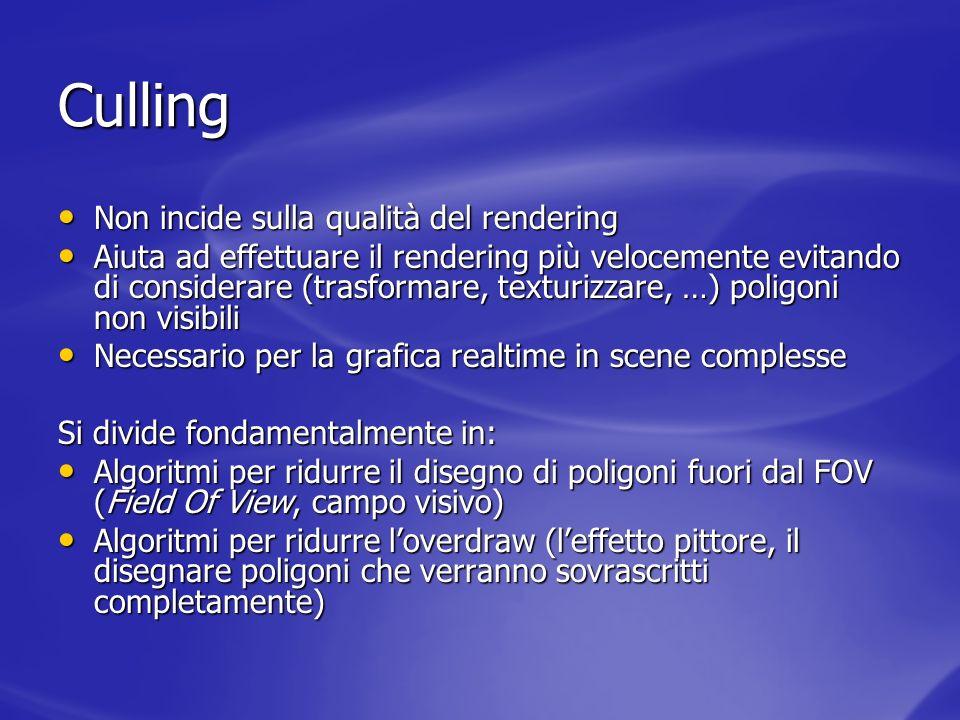 Culling Non incide sulla qualità del rendering Non incide sulla qualità del rendering Aiuta ad effettuare il rendering più velocemente evitando di con