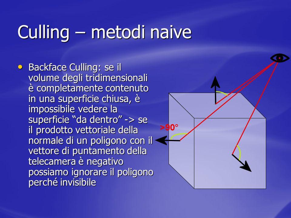Culling – metodi naive Backface Culling: se il volume degli tridimensionali è completamente contenuto in una superficie chiusa, è impossibile vedere l