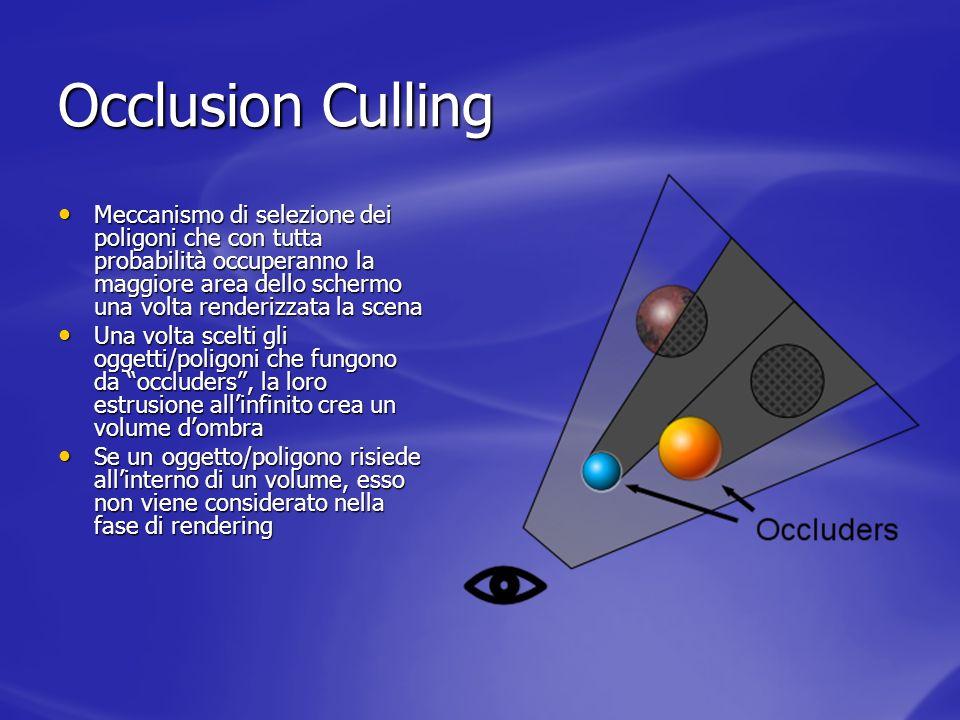 Occlusion Culling Meccanismo di selezione dei poligoni che con tutta probabilità occuperanno la maggiore area dello schermo una volta renderizzata la