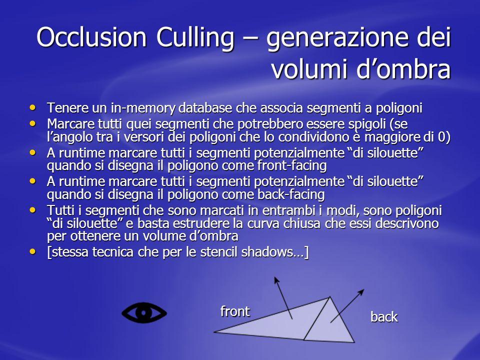 Occlusion Culling – generazione dei volumi dombra Tenere un in-memory database che associa segmenti a poligoni Tenere un in-memory database che associ