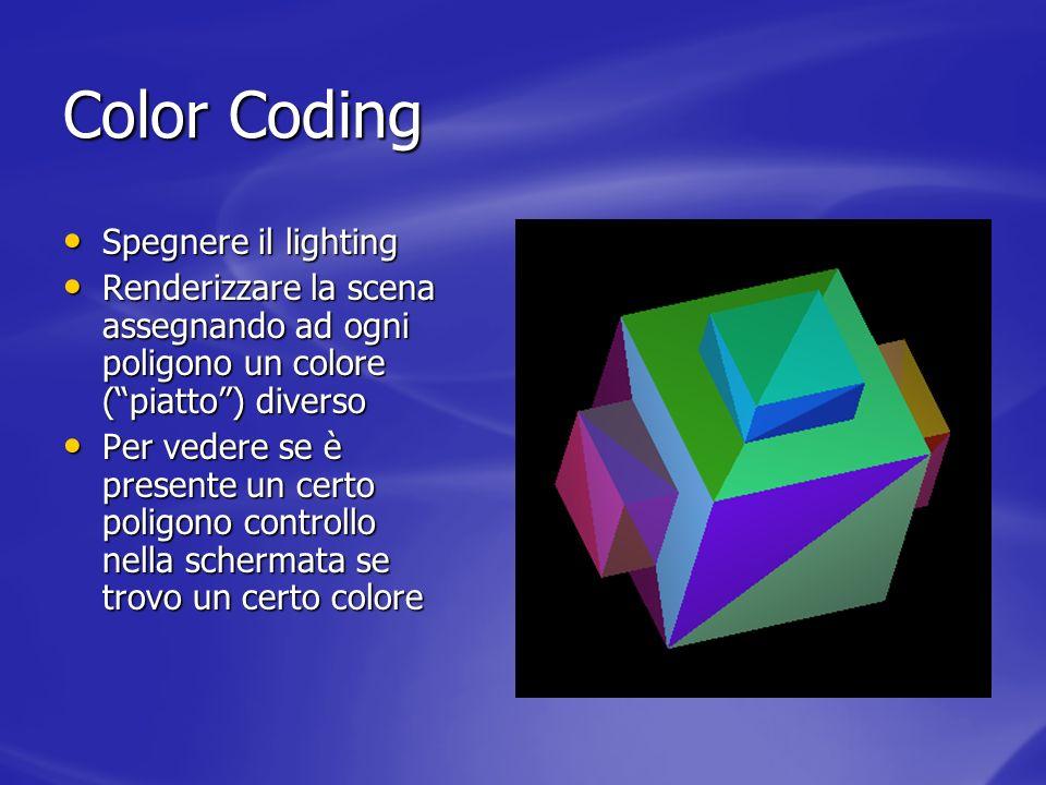 Color Coding Spegnere il lighting Spegnere il lighting Renderizzare la scena assegnando ad ogni poligono un colore (piatto) diverso Renderizzare la sc