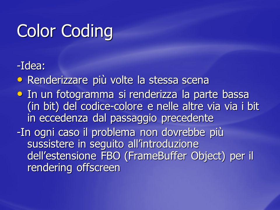 Color Coding -Idea: Renderizzare più volte la stessa scena Renderizzare più volte la stessa scena In un fotogramma si renderizza la parte bassa (in bi