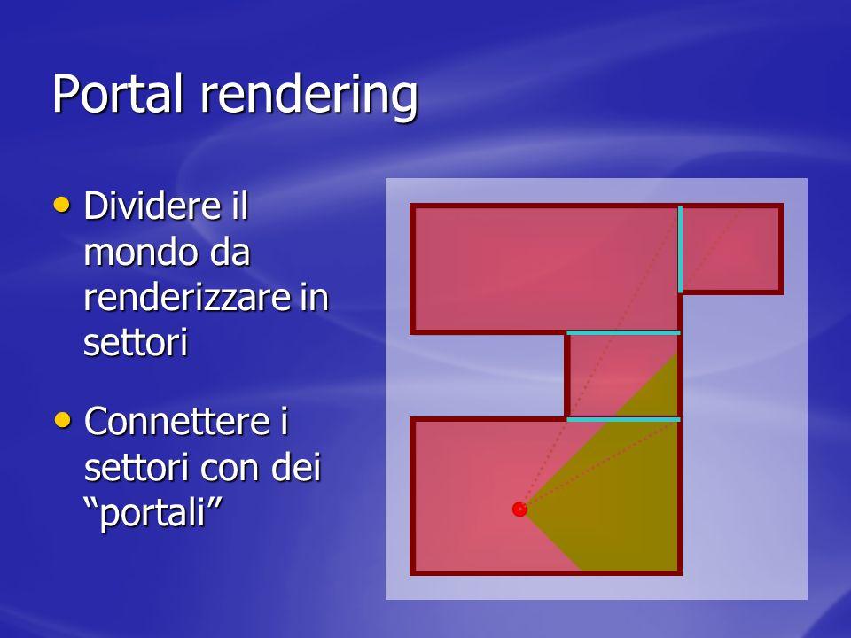 Portal rendering Dividere il mondo da renderizzare in settori Dividere il mondo da renderizzare in settori Connettere i settori con dei portali Connet