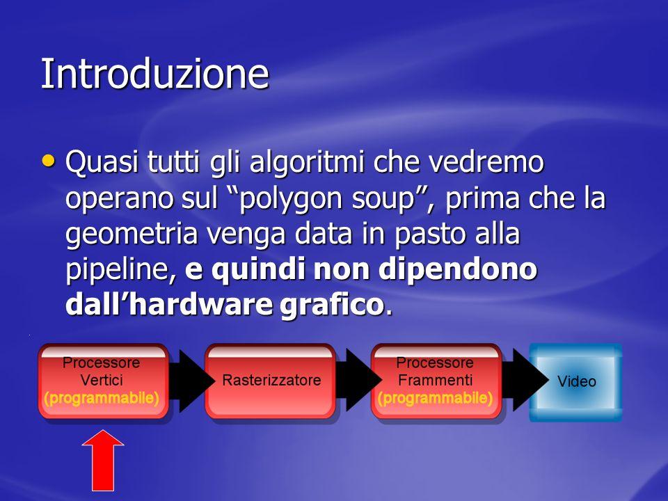 Sorting: una definizione Il sorting è loperazione di ordinamento o categorizzazione su un set di dati Il sorting è loperazione di ordinamento o categorizzazione su un set di dati Nel campo della grafica per sorting si intende la sola operazione di ordinamento su un set di entità grafiche al fine della loro corretta visualizzazione Nel campo della grafica per sorting si intende la sola operazione di ordinamento su un set di entità grafiche al fine della loro corretta visualizzazione Il culling è categorizzazione delle entità tra quelle da considerare e quelle da ignorare Il culling è categorizzazione delle entità tra quelle da considerare e quelle da ignorare