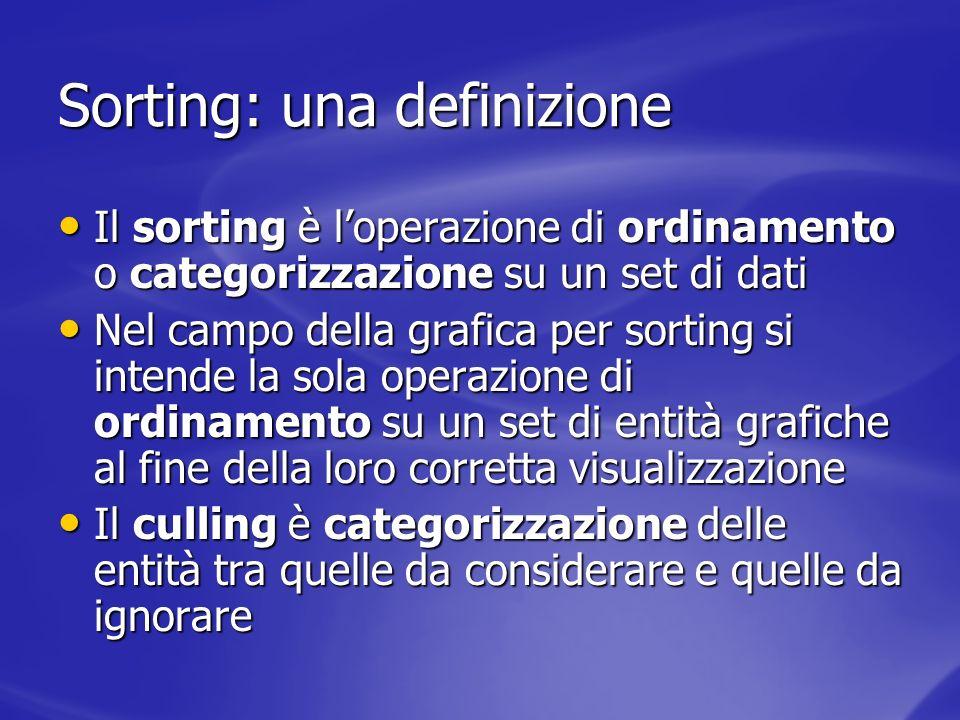 Sorting e Culling Il sorting è necessario per rappresentare correttamente su uno schermo bidimensionale una scena 3D Il sorting è necessario per rappresentare correttamente su uno schermo bidimensionale una scena 3D Il culling aiuta semplicemente a snellire il lavoro eliminando a priori entità grafiche che sarà inutile ordinare/trasformare/rasterizzare/… Il culling aiuta semplicemente a snellire il lavoro eliminando a priori entità grafiche che sarà inutile ordinare/trasformare/rasterizzare/…